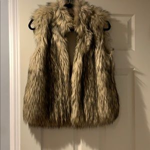Micheal Kors brown& beige faux fur vest